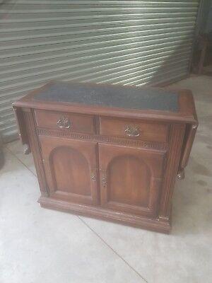Antique Oak Sideboard With Slate