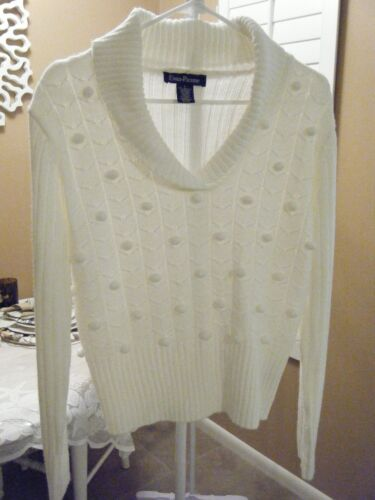 EVAN PICONE LARGE CREAM V NECK SWEATER  LONG SLEEVE