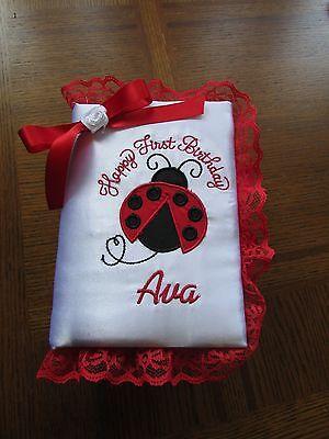 - Personalized Ladybug Happy First Birthday Photo Album Keepsake Girls Brag Book