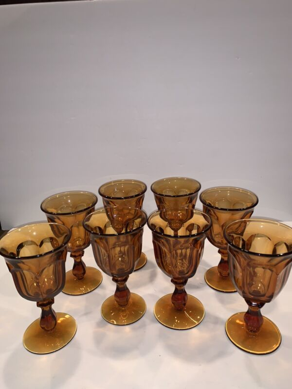 8 Vintage Imperial Amber OLD WILLIAMSBURG Water Goblets / Glasses 6 1/2""