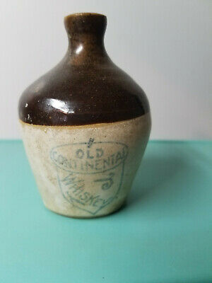 VINTAGE OLD CONTINENTAL EMPTY WHISKEY MINI COLLECTIBLE CROCK JUG JAR