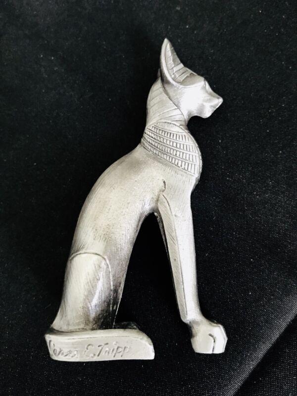 "LARGE 3"" Pewter Ancient Egyptian Bastet Cat Valencia Goddess Figurine Statue H"