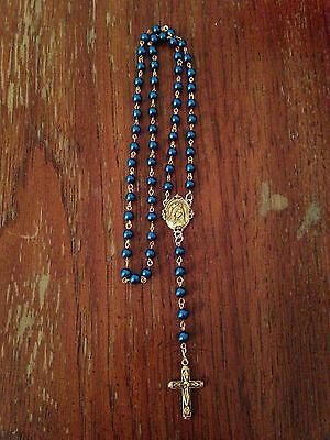 Vintage Catholic Peacock Blue Pearl Rosary Beads, Handmade