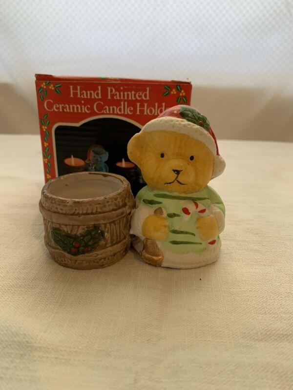 Christmas hand painted bear chrismas ceramic candle holder Vintage