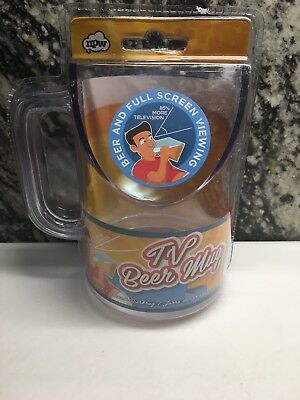 NEW NPW TV Beer Drinking Mug Angled For Better Viewing - Funny Gag Gift Beer