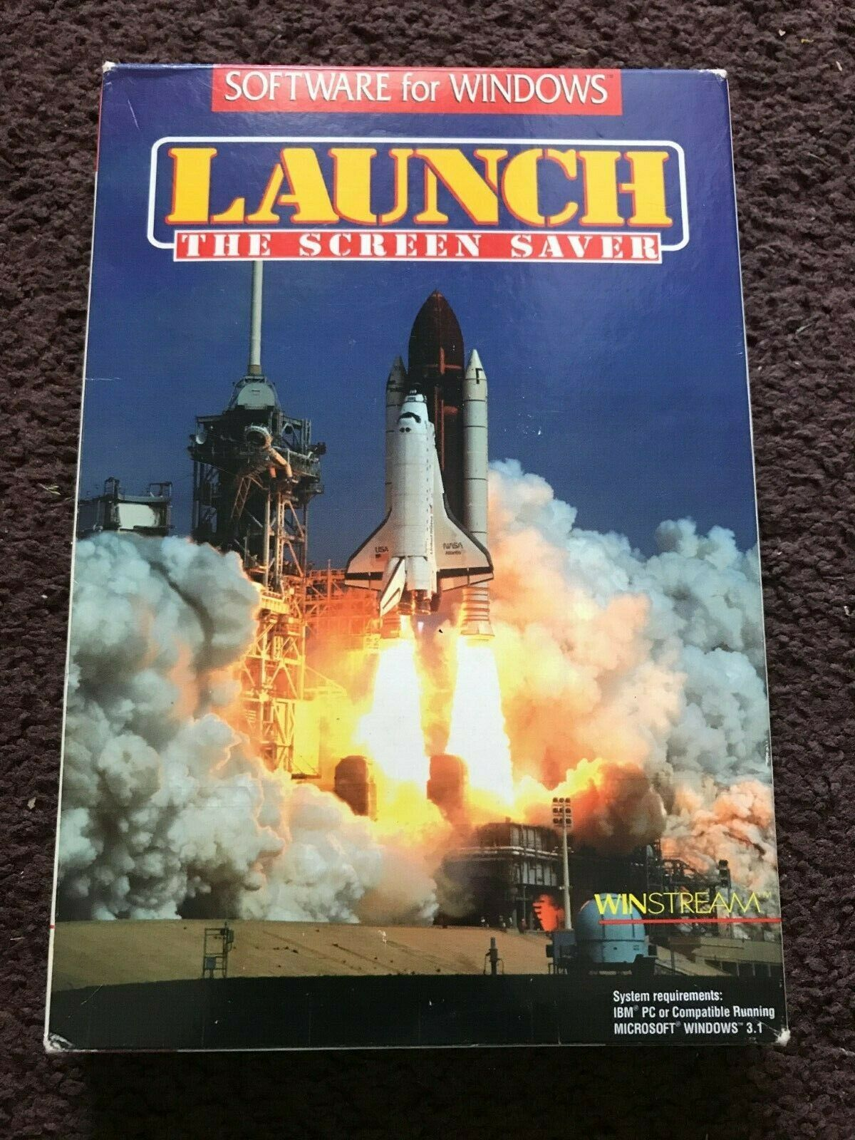 Winstream LAUNCH The Screen Saver Software IBM Tandy NASA Shuttle 3.5