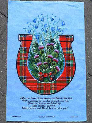 IRISH LEINEN GESCHIRRTUCH MIT BLUMENMOTIV / SPRUCH +  Bild Deko Vintage NEU  Irish Blumen