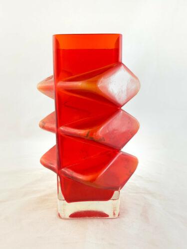 """Vintage Riihimaki Rare 1969 Erkkitapio Siiroinen Pablo Cubist Glass Vase 8"""""""