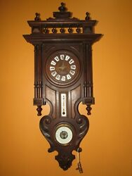 ANTIQUE BLACK FOREST WALL CLOCK WITH BAROMETER & THERMOMETER, TIME/STRIKE