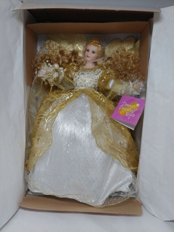 "Paradise Galleries Treetop Angel 12"" Porcelain Doll Lighted Tree Topper"