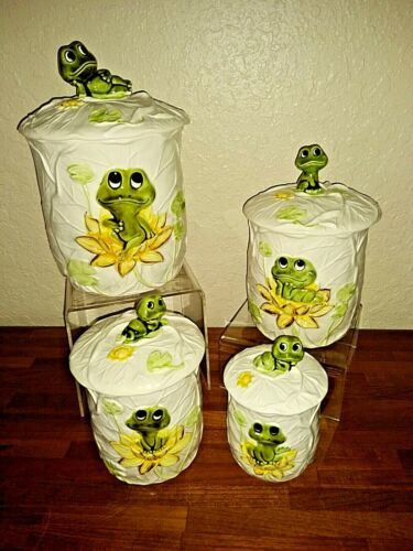 MINT Neil The Frog 8 pc Ceramic Canister Set Sears Roebuck Co 1976  *FREE SHIP*