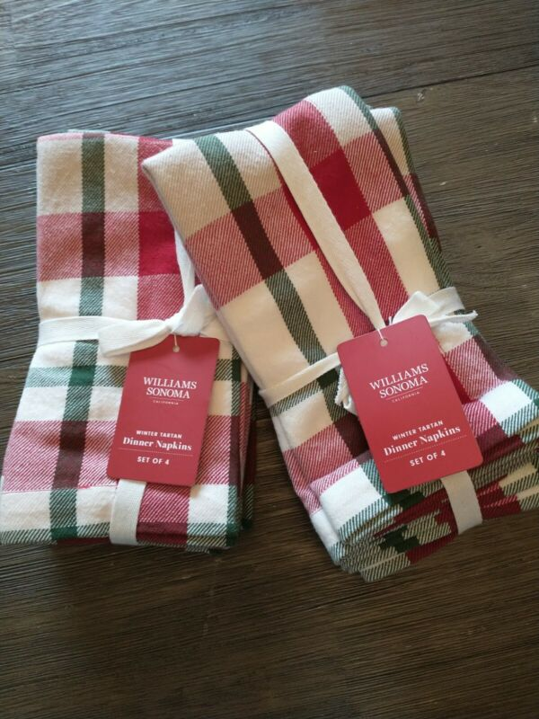 NEW! WILLIAMS SONOMA Set/8 Winter Tartan Dinner Napkins Plaid Red,Green,White