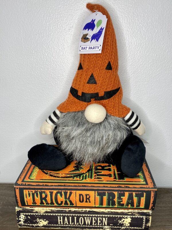 HALLOWEEN Gnome Shelf Sitter Orange Pumpkin Hat B&W Short Legs 2020 NEW