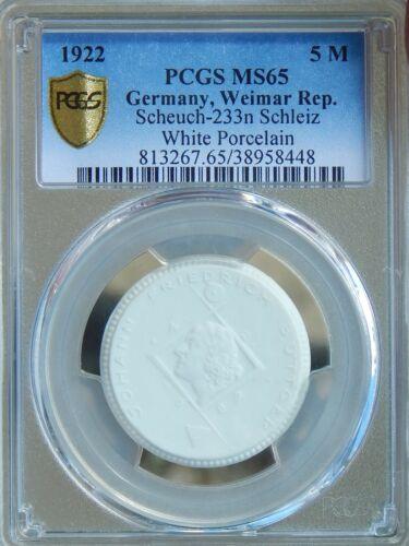 RARE Germany 5 M 1922 PCGS MS65 Sch-233n Schleiz White Porcelain Böttger Coin