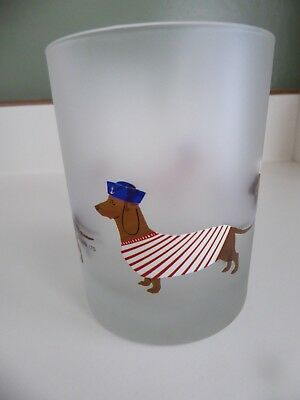 2 Culver Dachshund Frosted Glass Sailor Shirt Sweater Low Ball Rocks Tumbler