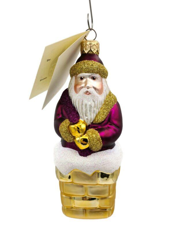 Patricia Breen Here Comes Santa Claus Fuchsia Christmas Holiday Ornament
