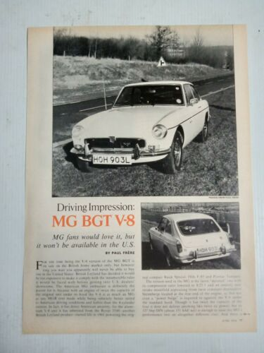 FACTORY MGB GT V8 2 PAGE USA MAGAZINE PREVIEW & DRIVE ARTICLE
