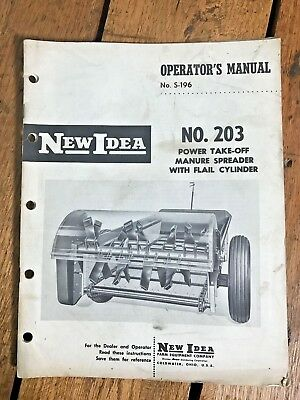 New Idea No. 203 Pto Manure Spreader Flail Cylinder Operator Manual Vintage 1969