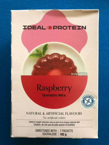 Ideal Protein Raspberry Gelatin Mix - 7 Packets - EXP 4/30/22 -  FREE SHIPPING!