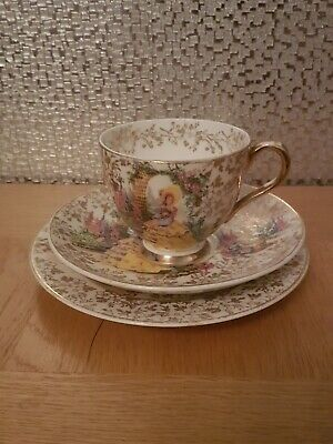 Vintage 'Garden House' Fine English Bone China Trio Teacup, Saucer & Plate