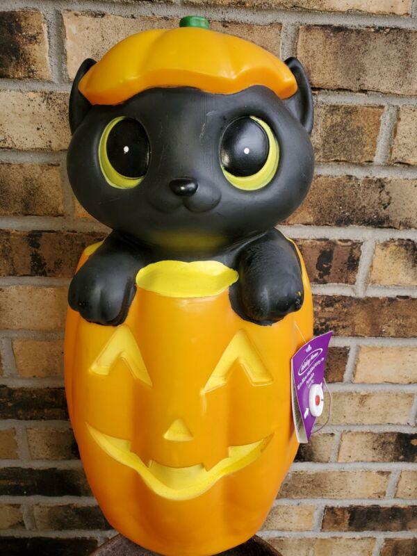 "NOS Halloween KItten Cat Jack O Lantern blow mold lighted New 18"""