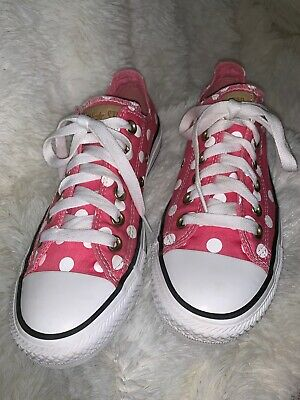 White Dress Pink Shoes (Pink Converse shoes with white polka dots Size 7)