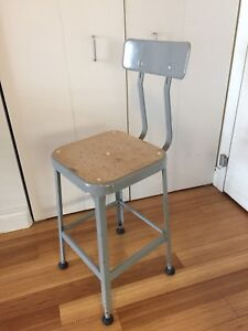 VINTAGE INDUSTRIAL LYON BAR STOOL KITCHEN COUNTER HEIGHT