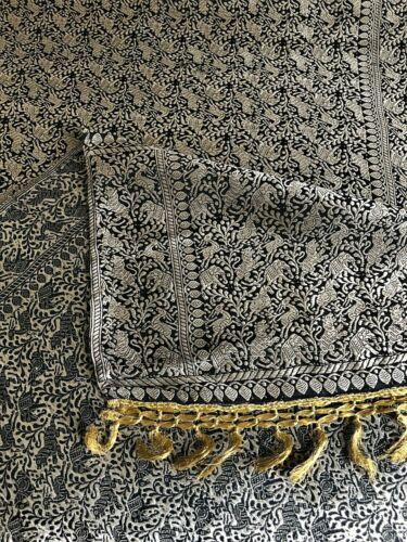 """Antique Bolt of Indian Embroidered SIlk Fabric Panel Gold Thread on Black 96""""L"""