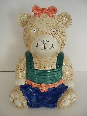 MIKASA Teddy Bear Cookie Jar Canister Ceramic Handpainted Storage Child