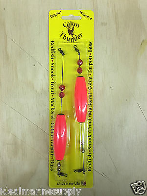 Cajun LiL Thunder Weighted Fishing Cigar Floats Bobber Corks (One 2 Pack) Orange