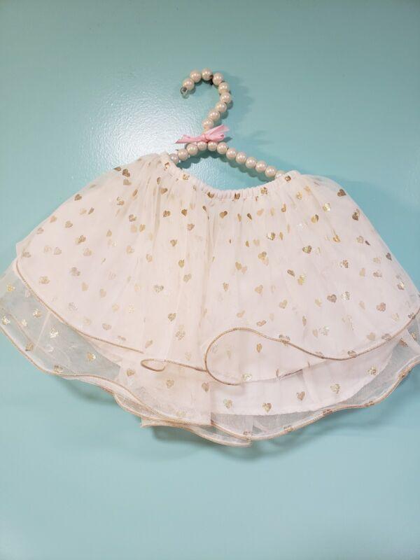 Cherokee Girls White Gold Hearts Tulle Tutu Skirt 4T