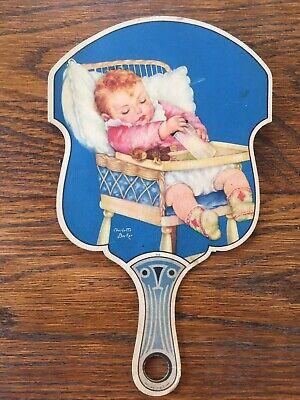 Charlotte Baker Image on Vintage Cardboard Fan. Early Orlando Fl, Advertising!