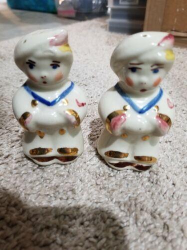 Vintage Porcelain Children Dressed Up Chef Salt & Pepper Shakers 3 Inches