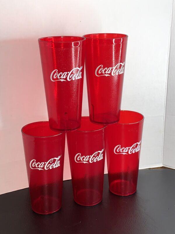 LOT 5 TALL RED COCA-COLA PIZZERIA RESTAURANT GRADE PLASTIC CUPS TUMBLER