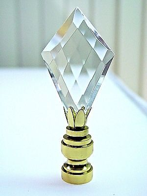 LEAD  CRYSTAL CROSS  CUT  FACETED  ELECTRIC  LIGHTING  LAMP  SHADE  FINIAL (NEW)