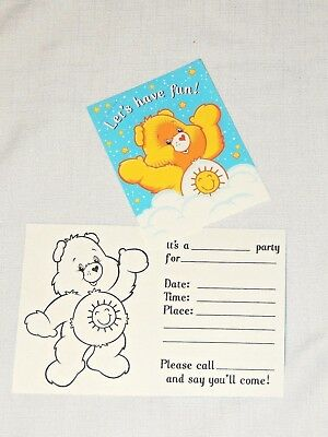Care Bear Party Supplies (NEW CARE BEARS    8-INVITATIONS /ENVELOPES   PARTY SUPPLIES)