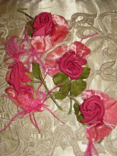 4 Vintage  FRENCH MILLINERY  ROSES VELVET, Hat, Trim, Flowers, Feathers LOT