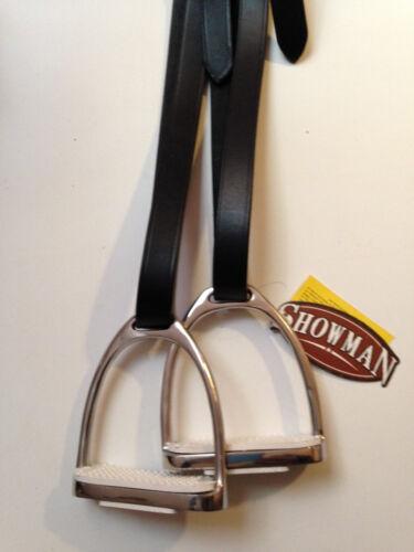 "Dark Brown Adult Stirrup Leathers and 4 3/4"" Irons Stirrups Pads English Saddle"