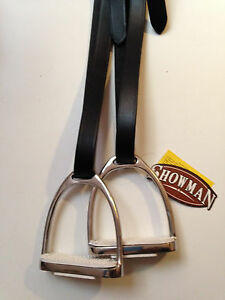 "Black Adult Stirrup Leathers and  4 3/4"" Stirrups Irons w Pads English Saddle"