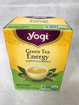 New Sealed Yogi Green Tea Energy , 16 Bags Discontinued Organic Best By