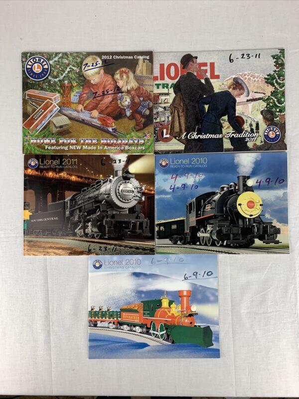 LOT OF 5 VINTAGE LIONEL TRAIN CATALOGS 2010-2012 MODEL TRAIN CATALOGS