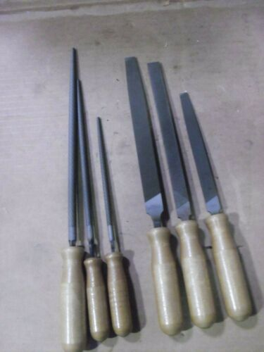 SIX !!! Files With Wood Handles Made In USA