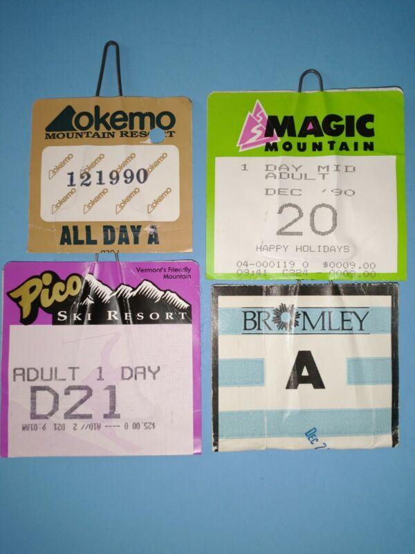 30-YR.OLD VERMONT SKI LIFT TICKETS-MAGIC MT.,BROMLEY, OKEMO & PICO- VERY NICE!