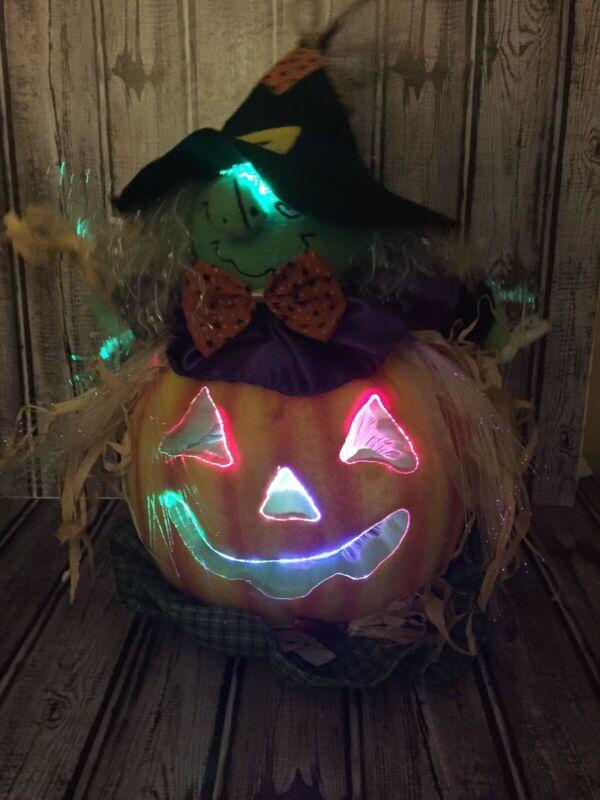 Halloween Fiber Optic Color Changing Witch in Jack O Lantern Pumpkin Decor C VID