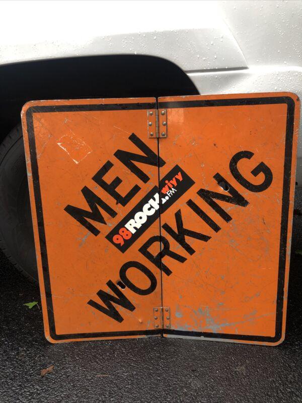 "MEN WORKING VINTAGE CONSTRUCTION STEEL SIGN 30"" X 30"" Bullet Holes?"