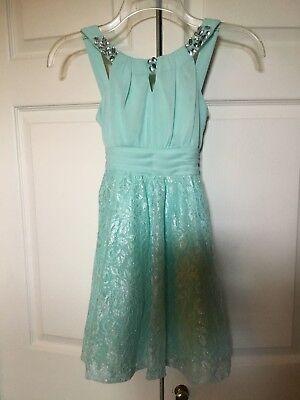 Tween Party Dress (TWEEN DIVA Girls Mint Green Party Dress with Rhinestones & Glitter Netting Sz)