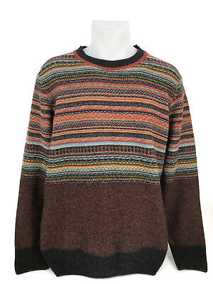 Slim Striped Sweater (Lorenzo Magni Wool Sweater Slim Fit Crew Neck Multi Striped Made in Italy)