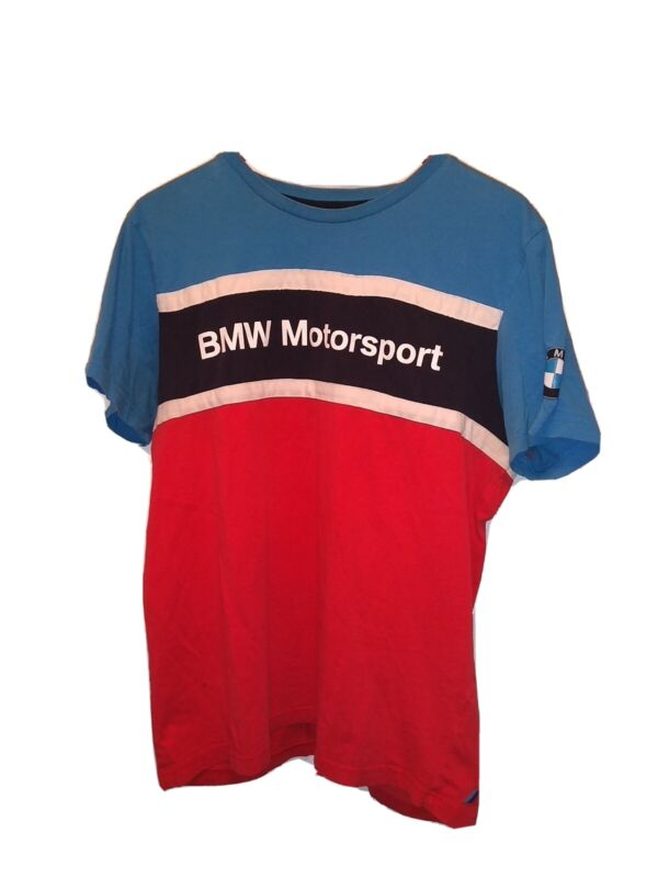 BMW Motorsport Puma Mens Shirt Large Blue Red Striped Short Sleeve - VERY RARE