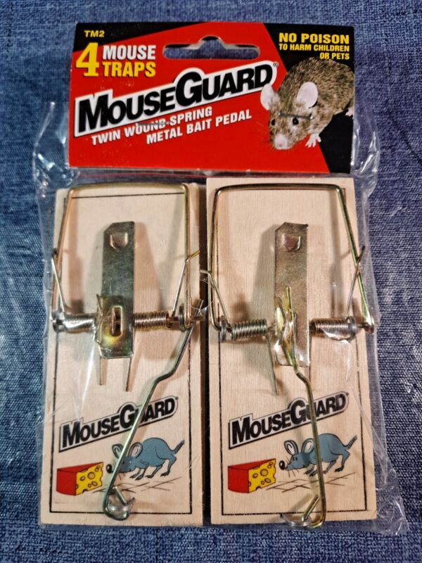 Mouse Guard 4 Pack Snap Traps Wood & Metal Rodent/Pest Control Supply No Poison