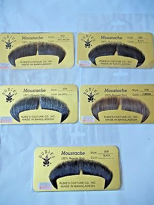 Moustache Human Hair Rubies Theatrical Historical Grey Black Brown Blonde 2028 (Grey Moustache)